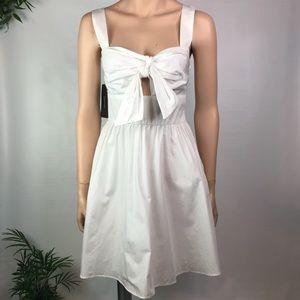 White Zara Bow Tie Cutout Poplin Sun Dress Small